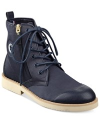 Tommy Hilfiger Hermosa Lace Up Cap Toe Booties Women's Shoes Navy Medium Blue