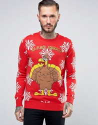Brave Soul Christmas Jumper Red