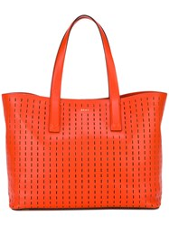 Dkny Embroidered Tote Women Leather One Size Yellow Orange