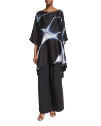 Eskandar Abstract Geometric Shibori Silk Top Black