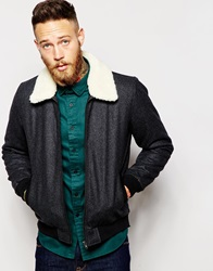 Asos Wool Harrington Jacket With Faux Shearling Collar In Dark Grey Charcoal