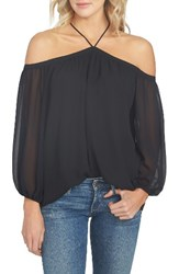 1.State Women's Off The Shoulder Chiffon Blouse Rich Black