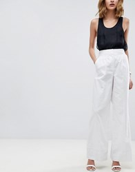 Asos Tailored Clean Linen Wide Leg Trousers White