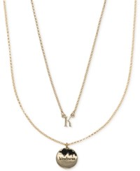 Ivanka Trump Gold Tone 2 Pc. Set Initial And Disc Pendant Necklaces Crystal K