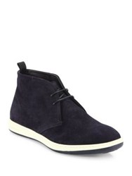 Giorgio Armani Perforated Lace Up Chukka Boots Blue