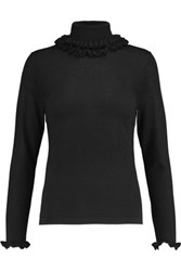 N.Peal Cashmere Ruffle Trimmed Cashmere And Silk Blend Turtleneck Sweater Black