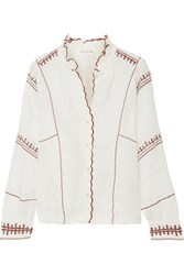 Etoile Isabel Marant Delphine Embroidered Linen Top Ecru