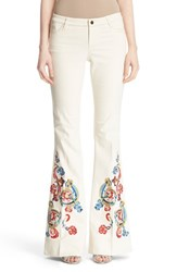 Women's Alice Olivia 'Ryley' Embroidered Flare Jeans Natural Multi