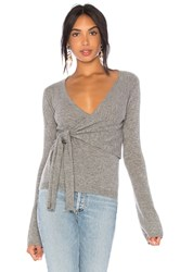 Autumn Cashmere X Revolve Asymmetric Tie Sweater Gray
