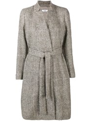 Peserico Plaid Belted Coat Nude And Neutrals