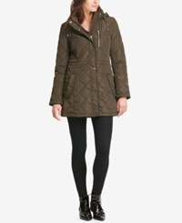 Dkny Quilted Faux Leather Trim Coat Loden