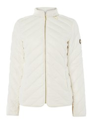 Michael Kors Chevron Quilted Puffer Jacket Off White