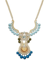 Bar Iii Gold Tone Two Tone Blue Bead And Pave Crystal Statement Necklace Multicolor