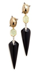 Alexis Bittar Mosaic Futurist Dangling Earrings Gold Silver Multi
