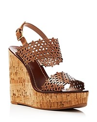 Tory Burch Floral Perforated Cork Wedge Sandals Natural Blush