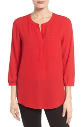Nydj Petite Women's Henley Blouse Sweet Strawberry