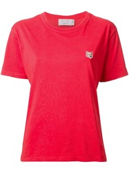 Maison Kitsune Fox Head Patch T Shirt Red