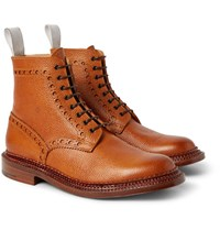 Grenson Neighborhood Charles Burnished Pebble Grain Leather Brogue Boots Brown