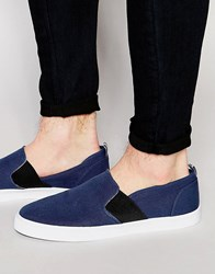 Asos Slip On Plimsolls In Navy With Elastic And Floral Lining Navy