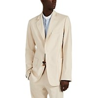 Wales Bonner Tingsha Detailed Stretch Cotton Blend Two Button Sportcoat Neutral