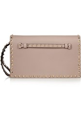 Valentino Garavani The Rockstud Leather Clutch Neutral