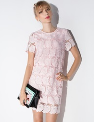 Pixie Market Pastel Pink Lace Shift Dress