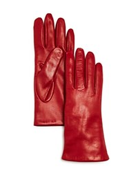 Bloomingdale's Cashmere Lined Leather Gloves 100 Exclusive Red