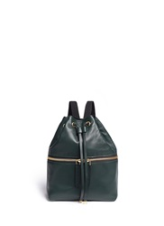 Marni 'Zaino' Mini Leather Drawstring Zip Backpack Green