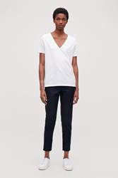 Cos Slim Relaxed Leg Wool Trousers Blue