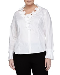 Go Silk Pleated Ruffle Poplin Blouse White