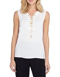 Tahari By Arthur S. Levine Plus Chain Tie Sleeveless Woven Blouse Ivory White