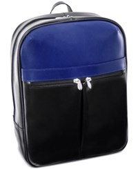 Mcklein Avalon 16 Leather Laptop Backpack Black Navy
