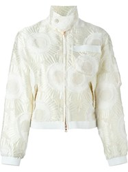 Julien David Floral Applique Zip Up Cropped Jacket White