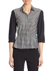 Akris Punto Striped Cinched Waist Cotton Shirt Black Beige