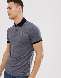 Hollister Icon Logo Heritage Slim Fit Polo Contrast Collar In Black Marl