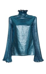 Luisa Beccaria Lurex Blouse With Pleated Sleeves Blue