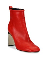 Rag And Bone Ellis Lamb Leather Ankle Boots Red Ivory