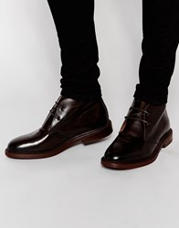 Asos Chukka Boots In Burgundy Leather With Heavy Sole