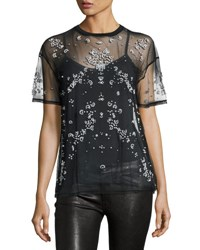 Cinq A Sept Kebede Embellished Mesh T Shirt Black