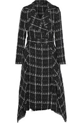 Roland Mouret Woman Kennedy Belted Checked Cotton Blend Tweed Coat Black