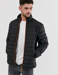 Only And Sons Puffer Jacket With Stand Collar In Black