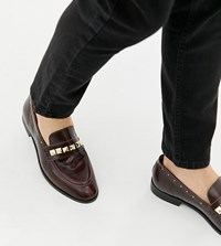 House Of Hounds Wide Fit Rex Stud Loafers In Burgundy Red