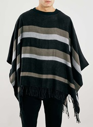 Topman Black And Grey Poncho