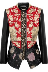 Alexander Mcqueen Patchwork Embroidered Printed Leather And Neoprene Jacket It42
