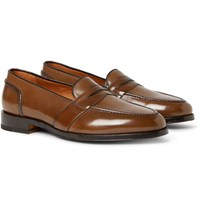 Tom Ford Taylor Polished Leather Penny Loafers Light Brown