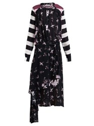 Preen Line Sora Floral And Stripe Print Asymmetric Dress Black Multi