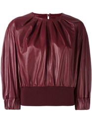 Drome Pleated Cropped Blouse Red
