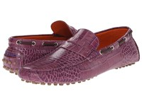Etro Crocodile Embossed Penny Loafer Mocassin Purple Men's Slip On Shoes