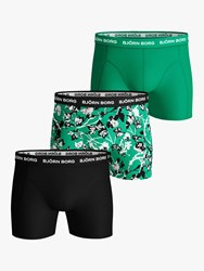 Bjorn Borg Fleur Leaf Print Trunks Pack Of 3 Green