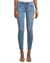 Dex Floral Print Distressed Skinny Jeans Blue Pattern